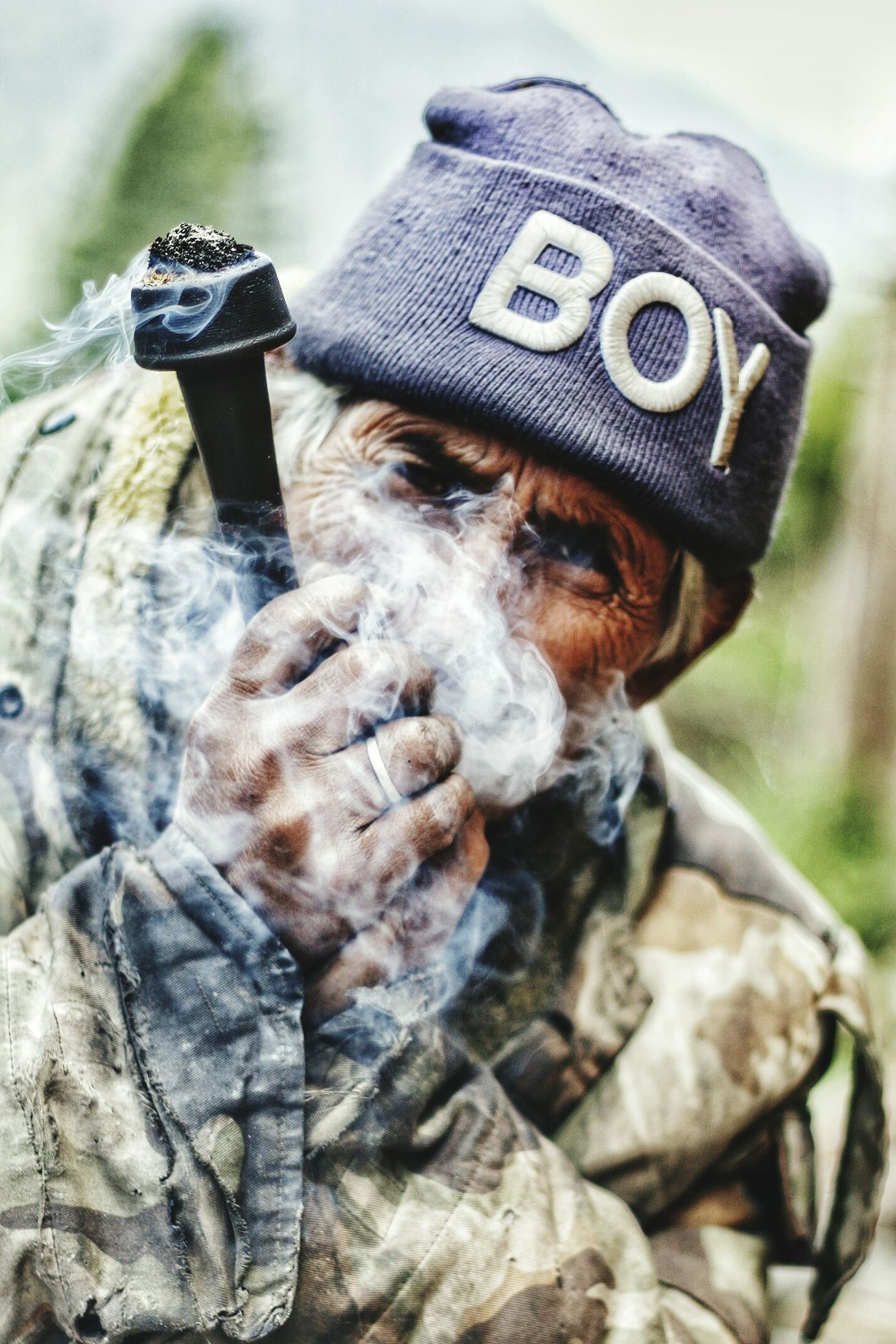 Smoke Weed Attitude Wrinkle Boy Cap Viilage Man Portrait Looks