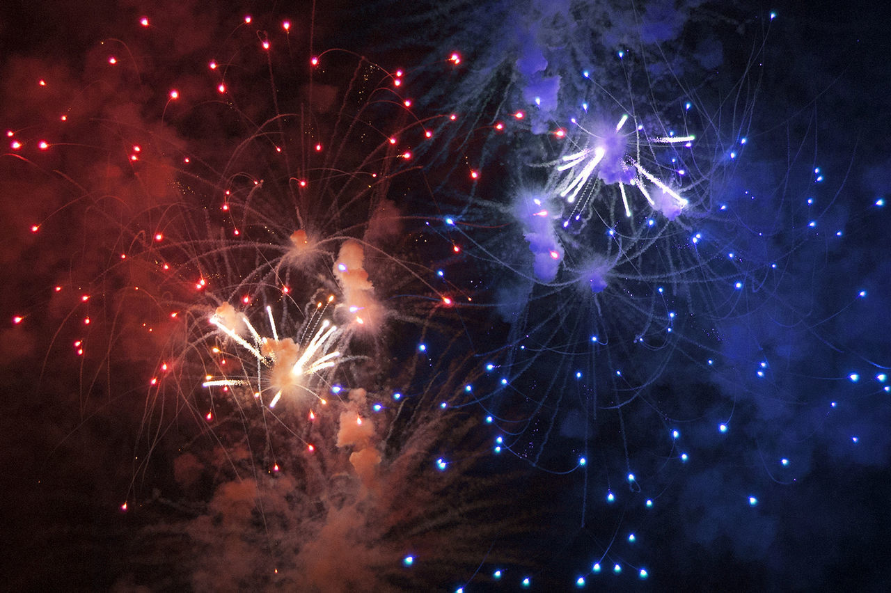 Abstract Fireworks Red And Blue