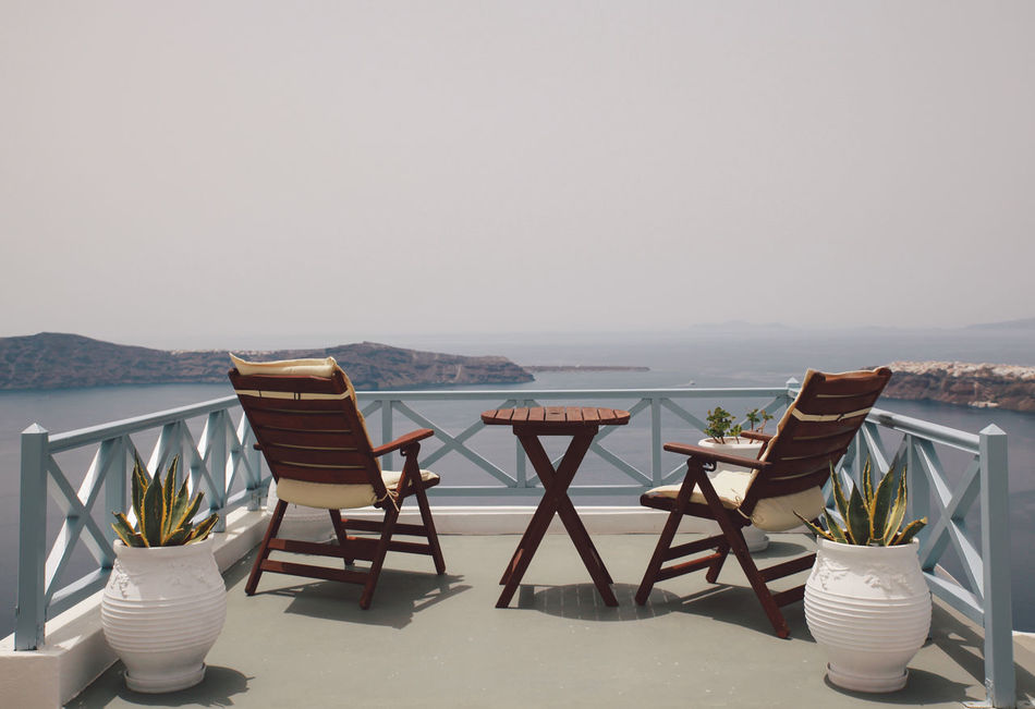 Beautiful stock photos of greece, Balcony, Beauty In Nature, Chair, Clear Sky