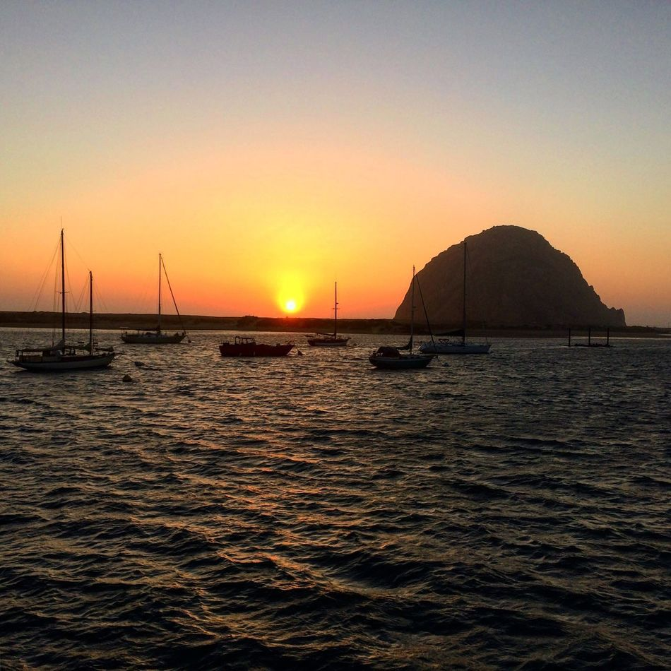 Morro bay, California. Sunset Sea Water Scenics Beauty In Nature Nature Boat Sky Rock Rock - Object Morrobay MorroBay California Morrobayrock California California Coast Pacific Ocean USA