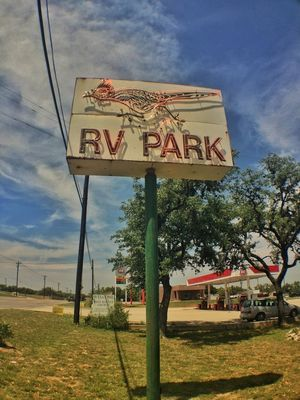 neon sign at Roadrunner RV Park by Leslie Texas