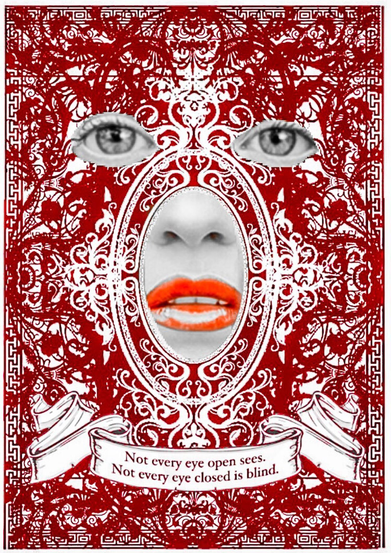 Not Every Open Eye Sees ...Not Every Closed Eye Is Blind Wrong Time Wrong Place Type Faces Rococo Facial Experiments HypnoCulture Full Frame Pattern Red Indoors  Close-up No People Day Resist Automation BYOPaper!