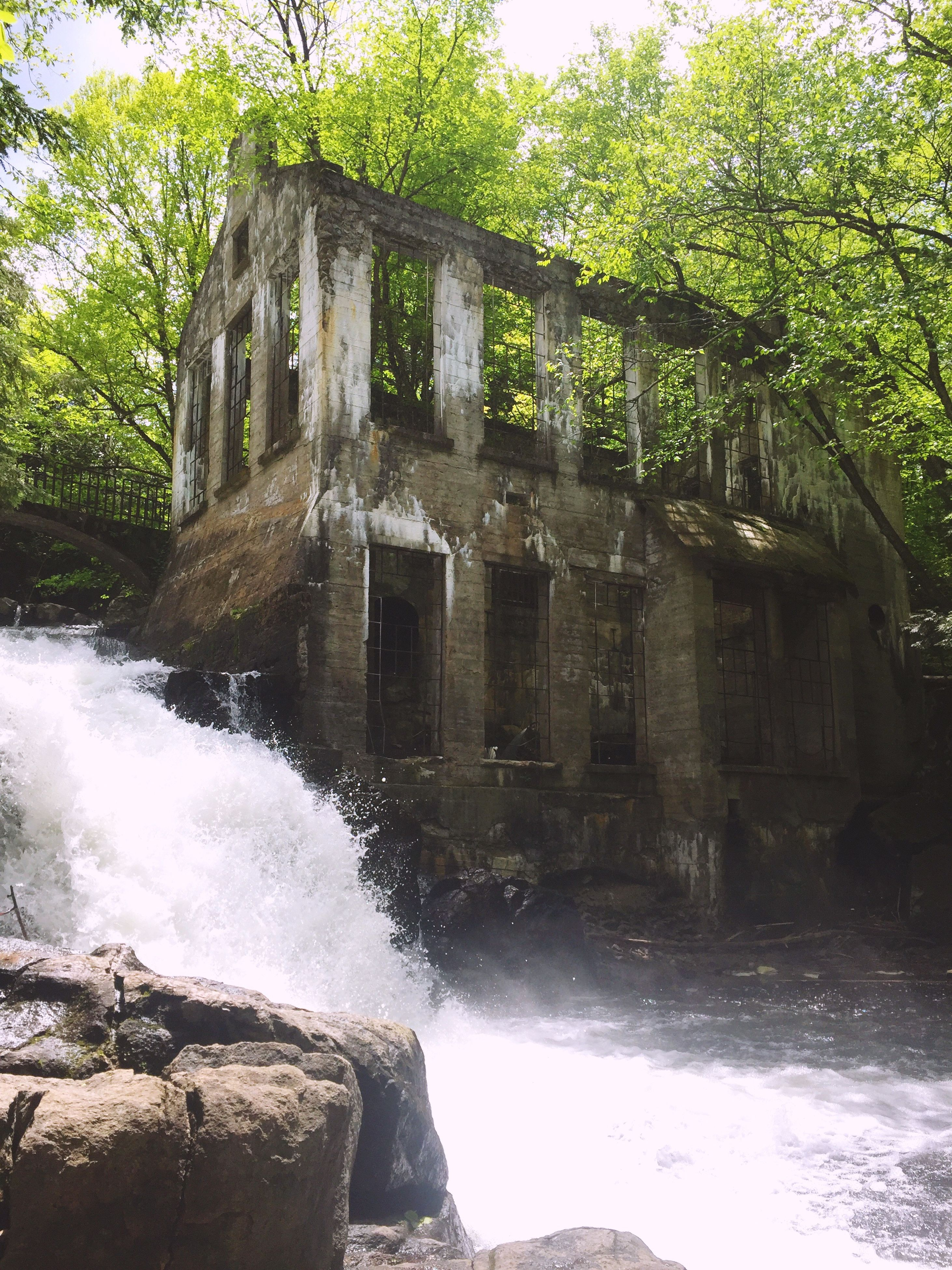water, motion, waterfall, tree, nature, day, long exposure, outdoors, rock - object, built structure, no people, architecture, beauty in nature, travel destinations, scenics, building exterior