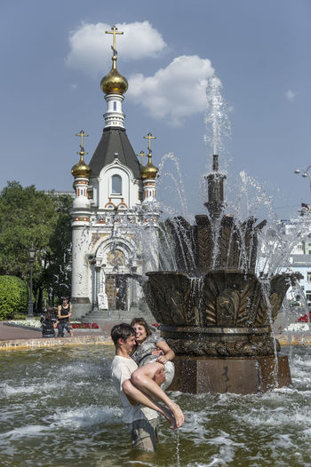 Russia, Yekaterinburg, fountains, heat, youth Casual Clothing Cloud - Sky Day Enjoyment Fun Leisure Activity Lifestyles Outdoors Russia, Yekaterinburg, Fountains, Heat, Youth Sky Tourism Travel Destinations Vacations Water