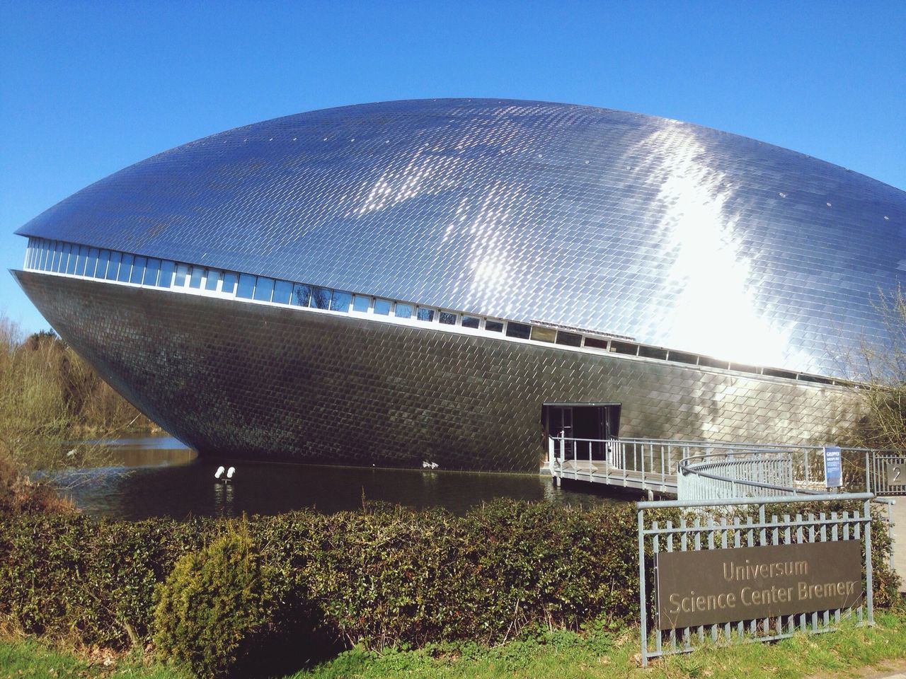 Architecture Architecture Modern Museum Science Bremen Germany Great Views Metal Glitter Sunny Day