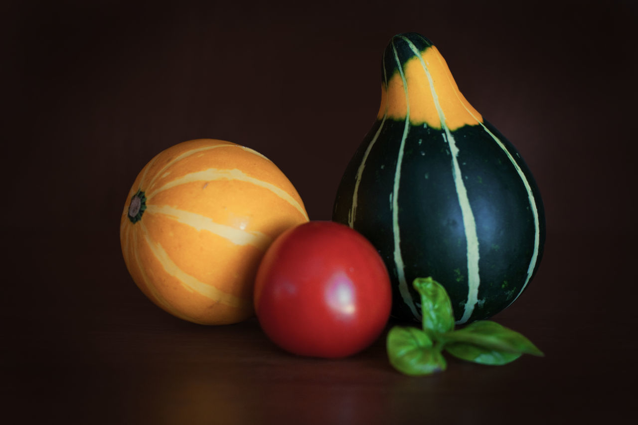 Basil Green Color No People Pumpkins Red Color Red Green Yellow Colors Still Life Tomato Vegetables Yellow Color