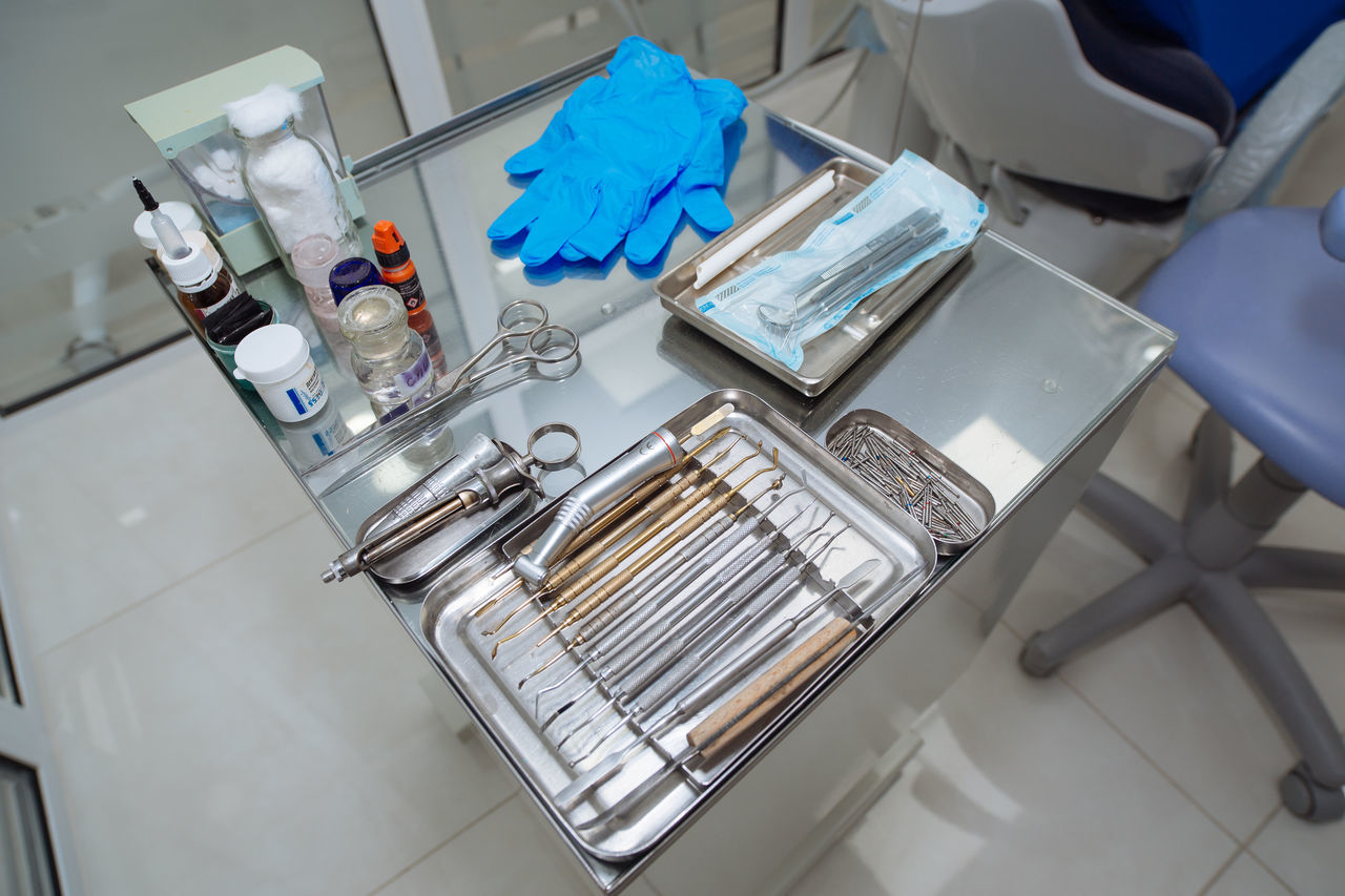 high angle view, healthcare and medicine, large group of objects, hygiene, indoors, no people, close-up, day