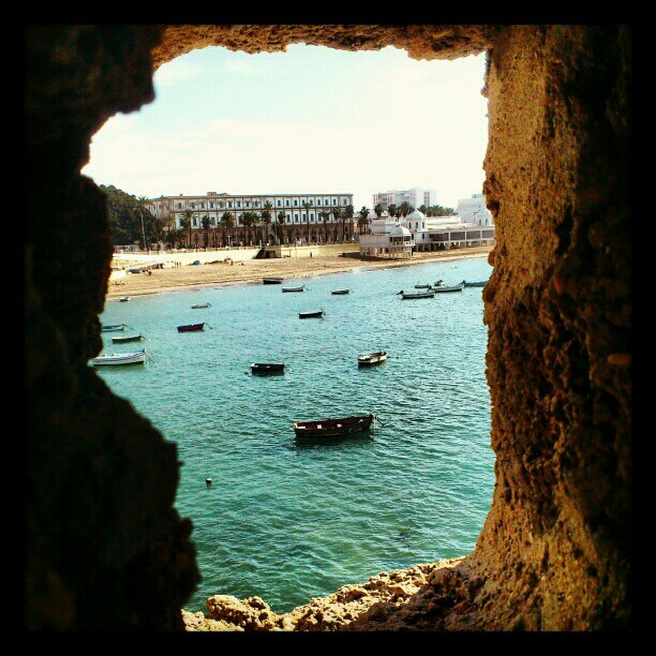 Beach Looking Out Of The Window Window Playa Cadiz Caleta