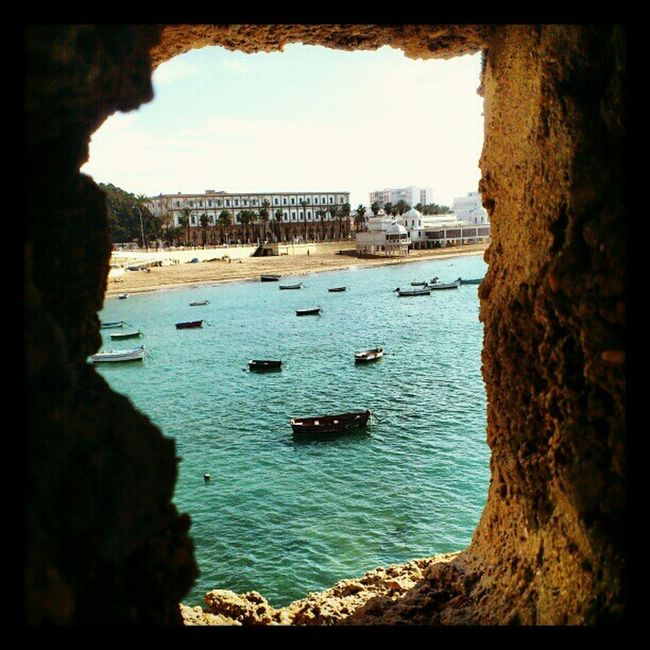 Beach Looking Out Of The Window Window Playa Cadiz Caleta