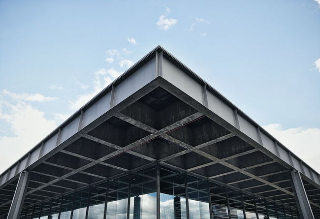 Neue Nationalgalerie by Ludwig Mies van der Rohe Architectural Feature Architecture Berlin Building Exterior Engineering Geometry Low Angle View Mies Van Der Rohe Modern Neue Nationalgalerie Structure Symmetry