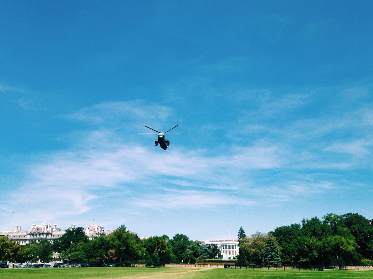Mr President leaving The White House in his Helicopter Blue Sky