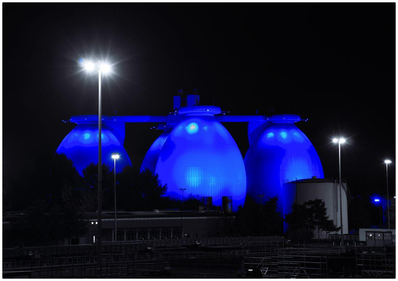 Blue Industry Long Exposure Night Night Photography Nightphotography No People Outdoors Watertank