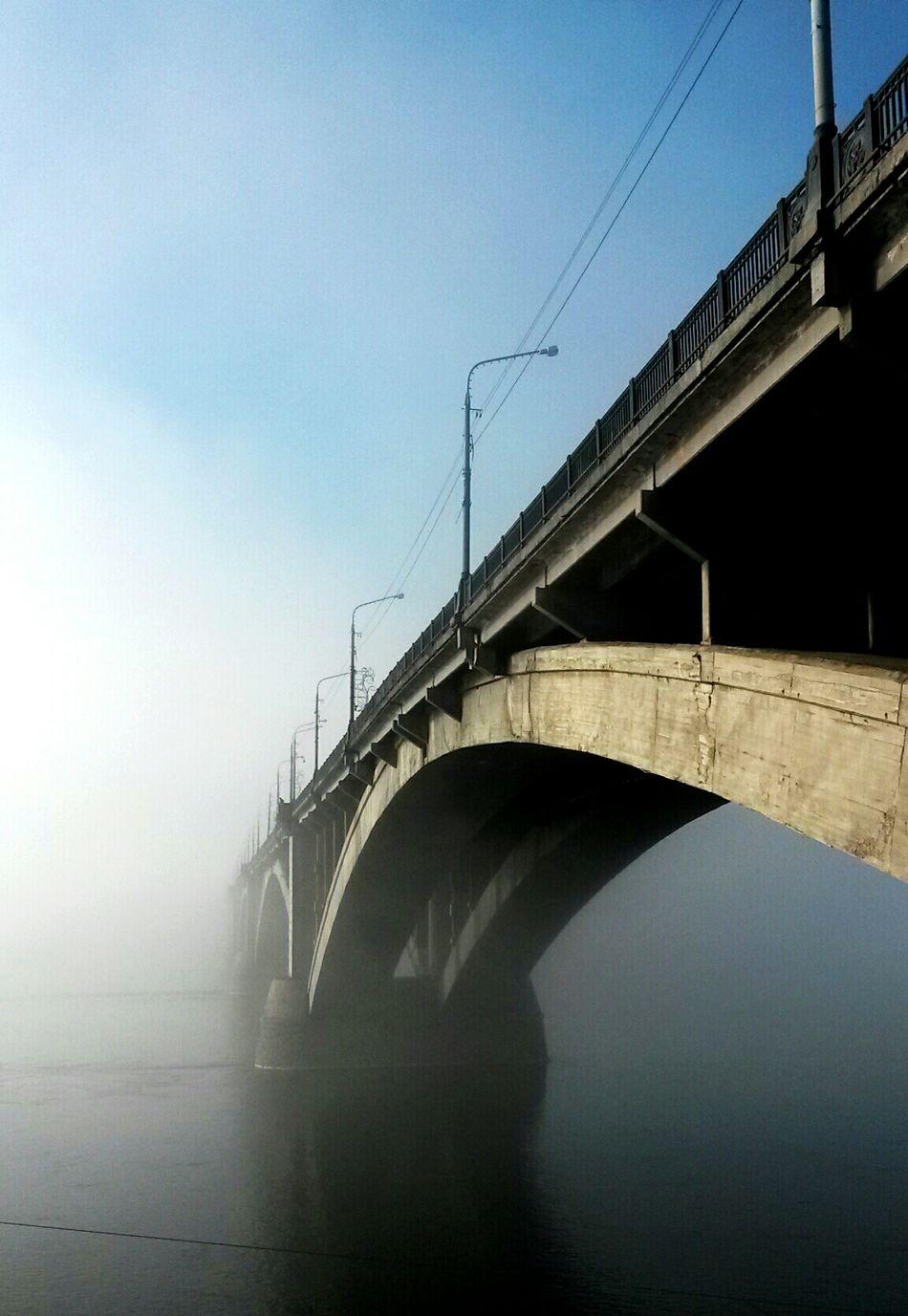 Туман на Енисее Енисей Коммунальный мост Красноярск красноярск мост туман