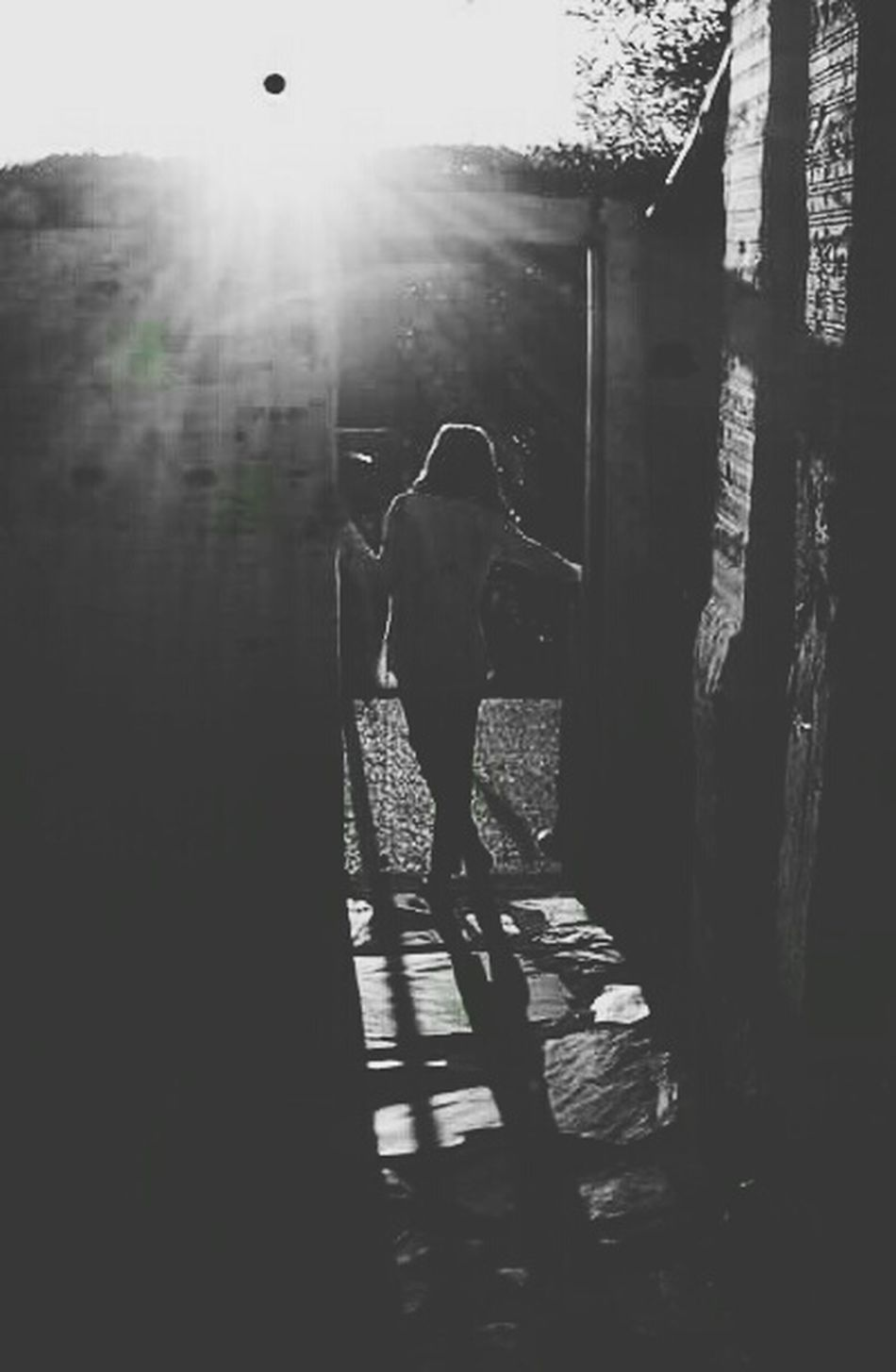 Shadow Shadows Shadows & Lights Shadows & Light Shadow And Light Shadow Photography Black And White Photography Hot Days Tranquility Light And Shadow Light In Doorway Evening Sun Evening Light Black Sun Beautiful Day Girl In Doorway Girl Portugal Tranquil Scene Doorway Into The Sun Into The Garden Doorway Lights Cobbles Long Shadows