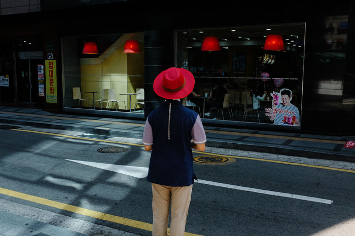 From Behind Holding Outdoors Person Red Standing Street Street Photography The Street Photographer - 2017 EyeEm Awards