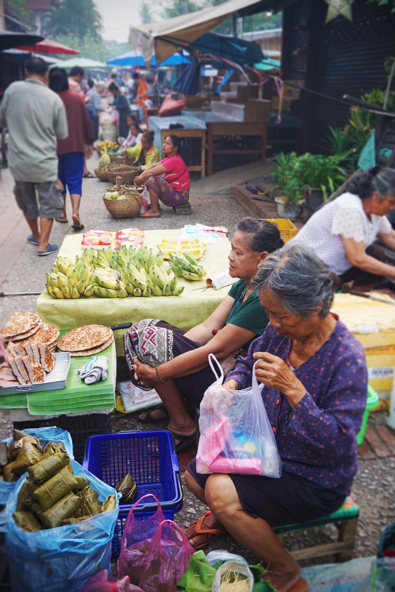 2017 Basket Day Farmer Market For Sale Laos Luang Phabang Luang Prabang Market Market Stall Market Vendor Outdoors Real People Selling Small Business Vegetable ラオス ルアンパバーン 朝市
