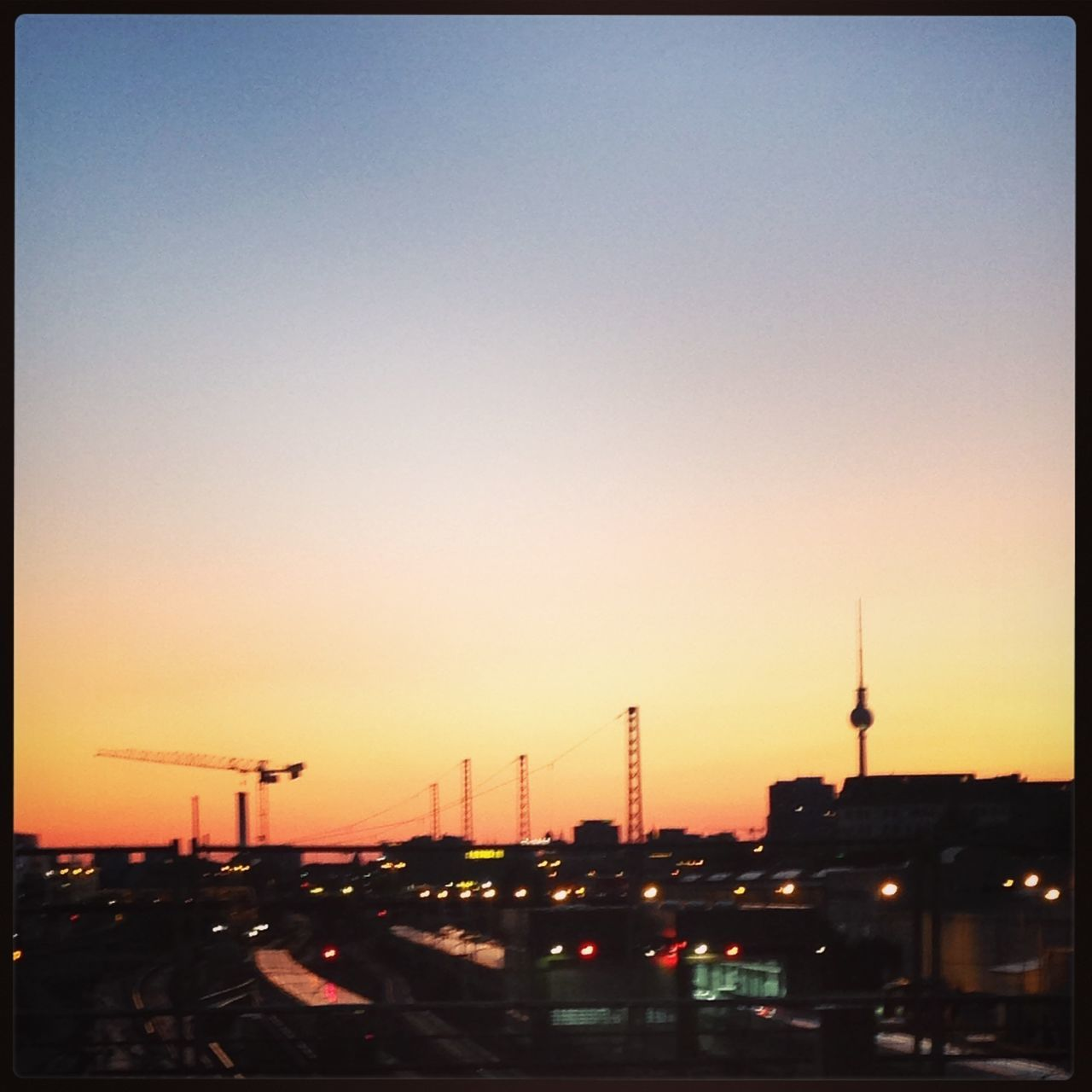 Architecture Berliner Ansichten Building Exterior Built Structure City City Life Cityscape Clear Sky Copy Space Crane Day Fernsehturm No People Oberbaumbrücke Outdoors Panorama Road Sky Skyline Sunset Sunset_collection Tower Transportation Travel Warschauerbrücke