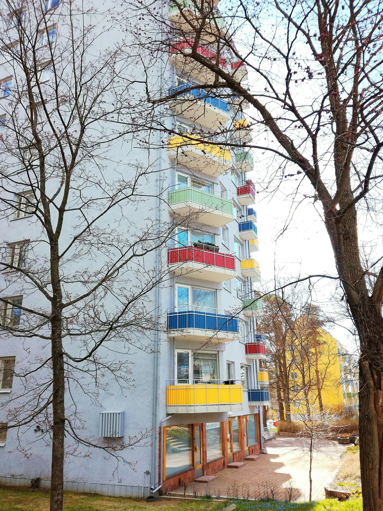 Tree Day Outdoors Built Structure Architecture Sky Branch No People Building Exterior Balconies Colorful Cheerful Block Of Flats City Landscape Sunny Day Colors Colorsplash Doors And Windows Park View Finland Neighborhood Map