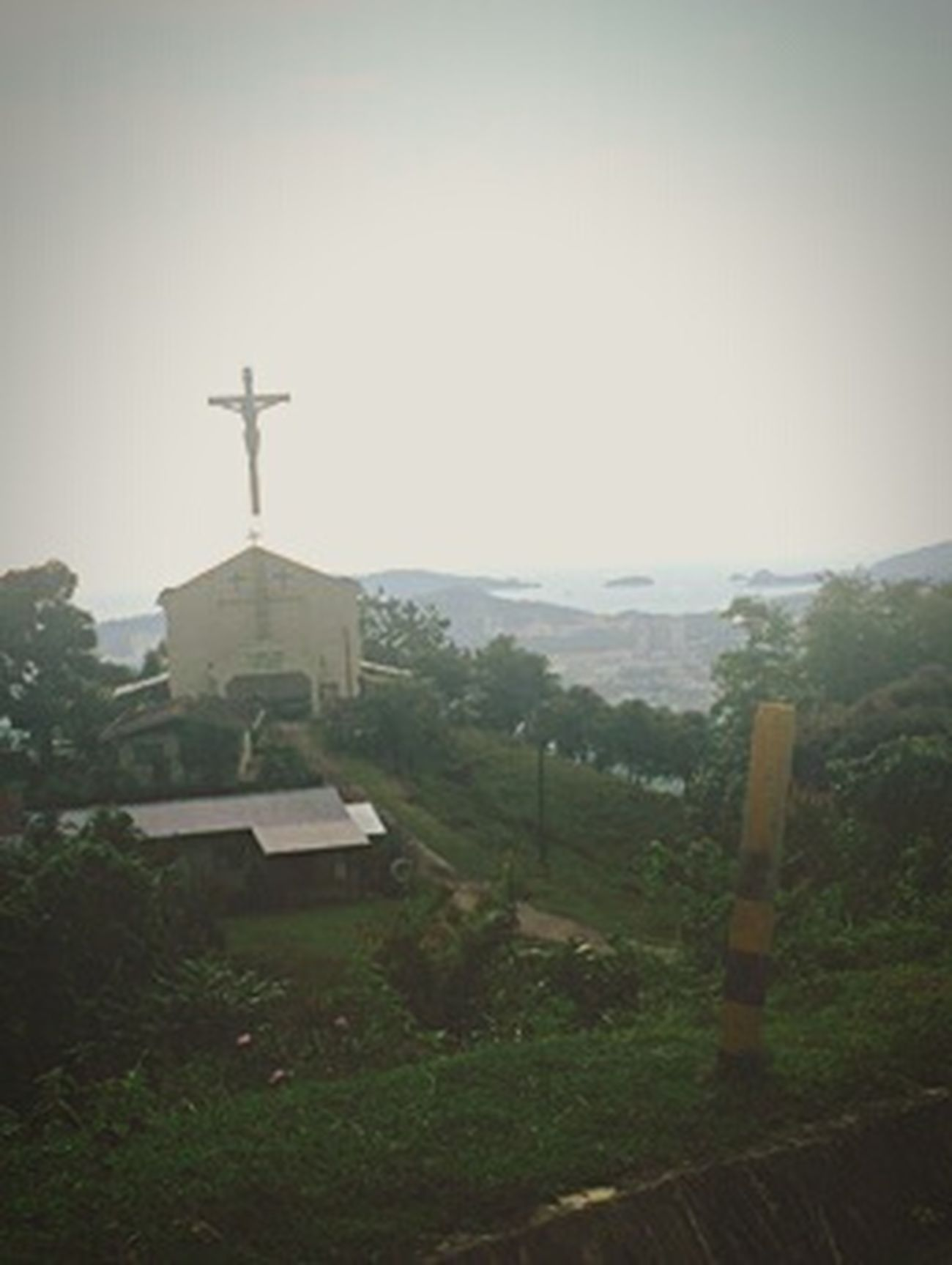 Jesus Cross Church Above Hill Landscape_captures Old Fashion Style