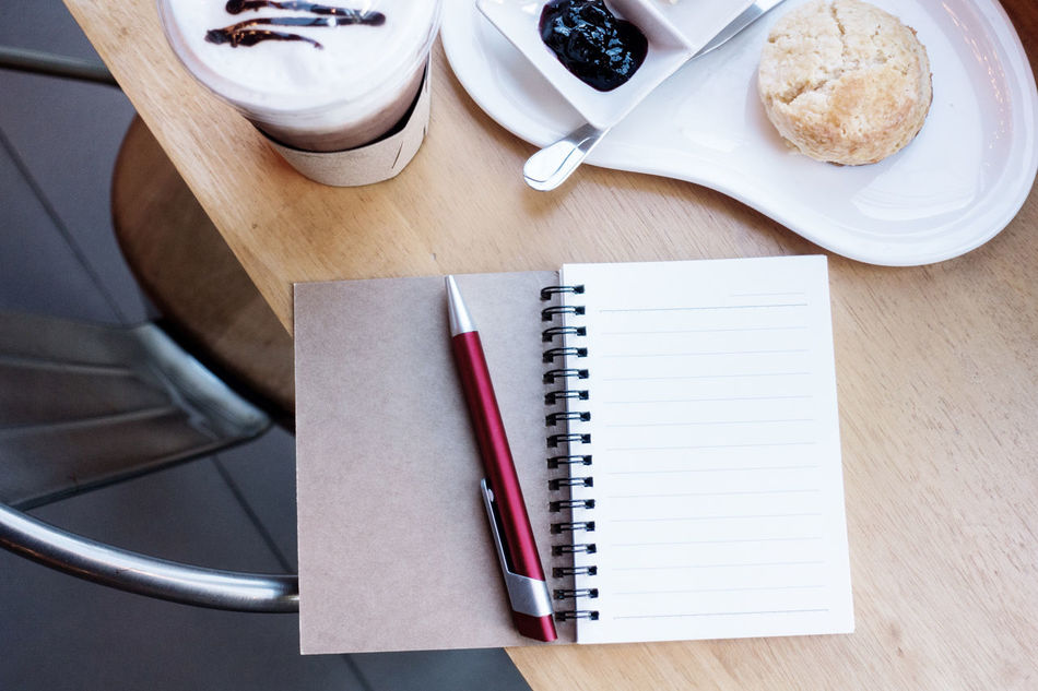 Book Close-up Day Desk Directly Above Drink Food And Drink Freshness High Angle View Indoors  No People Note Pad Paper Pen Still Life Table Wood - Material
