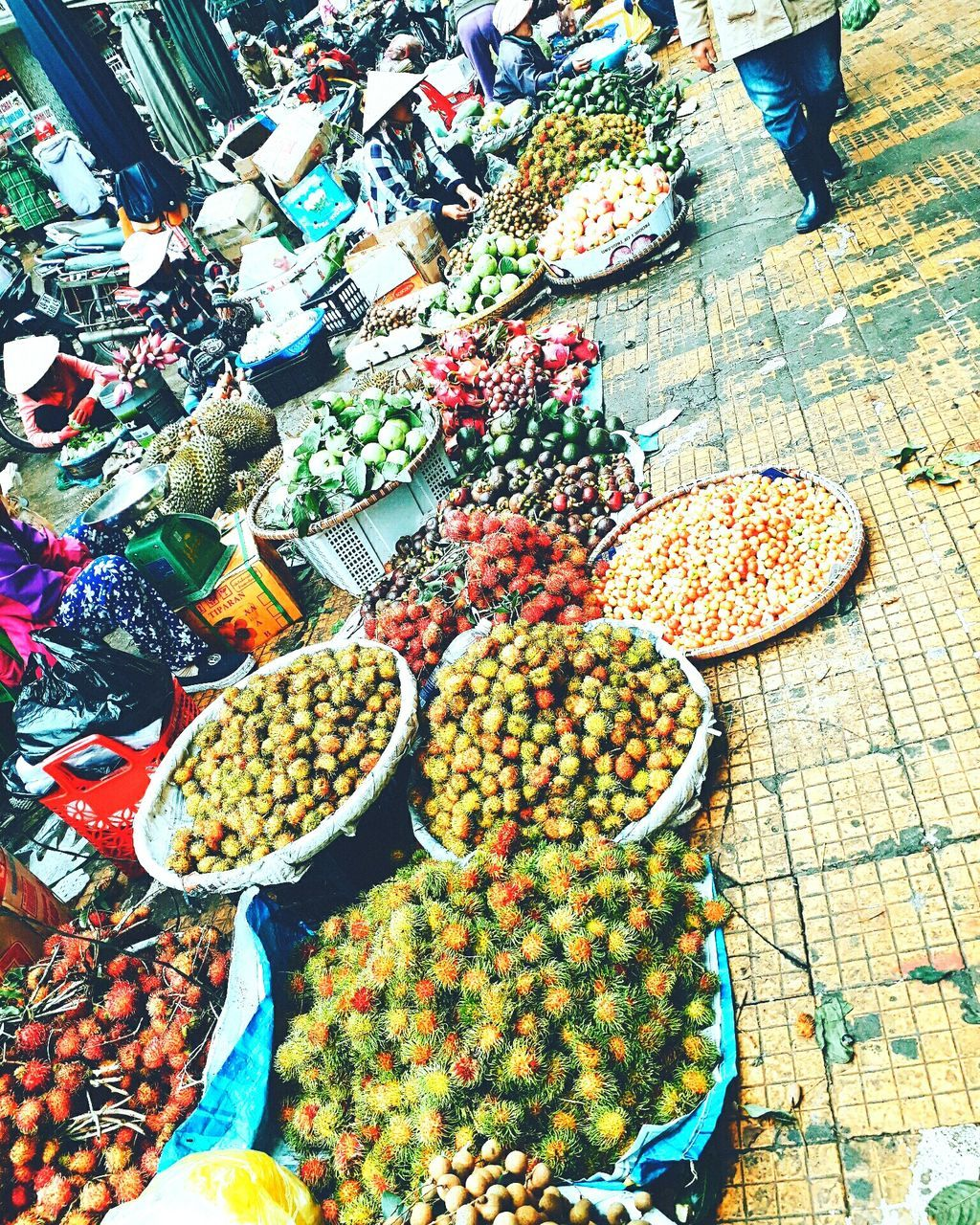food and drink, food, variation, for sale, retail, market, choice, fruit, high angle view, abundance, market stall, healthy eating, day, large group of objects, freshness, outdoors, vegetable, arrangement, real people