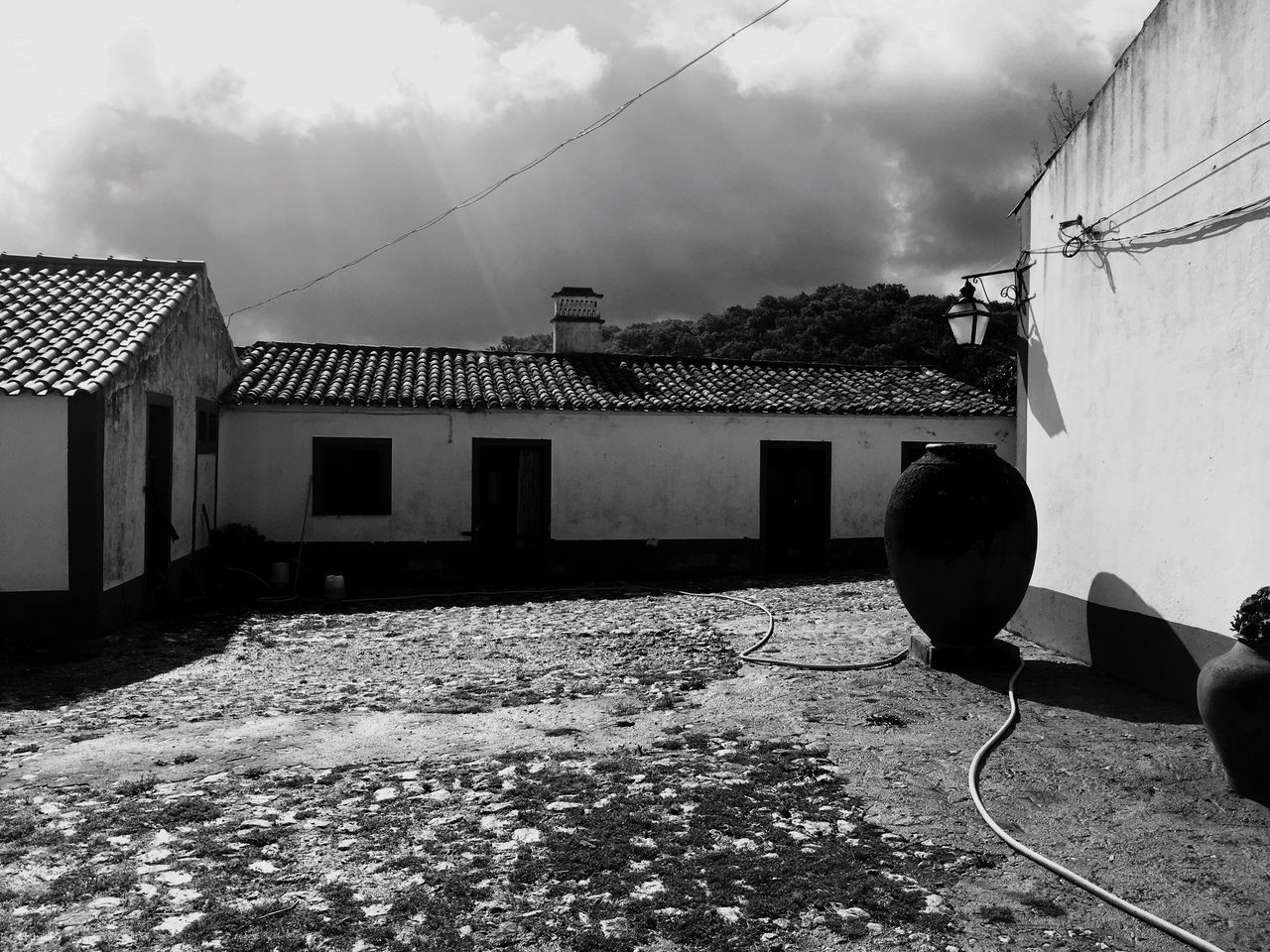 Herdade do Telheiro. Architecture Built Structure Building Exterior Sky House Cloud - Sky Cable Residential Building Outdoors Day No People Nature Black & White Odemira Alentejo,Portugal