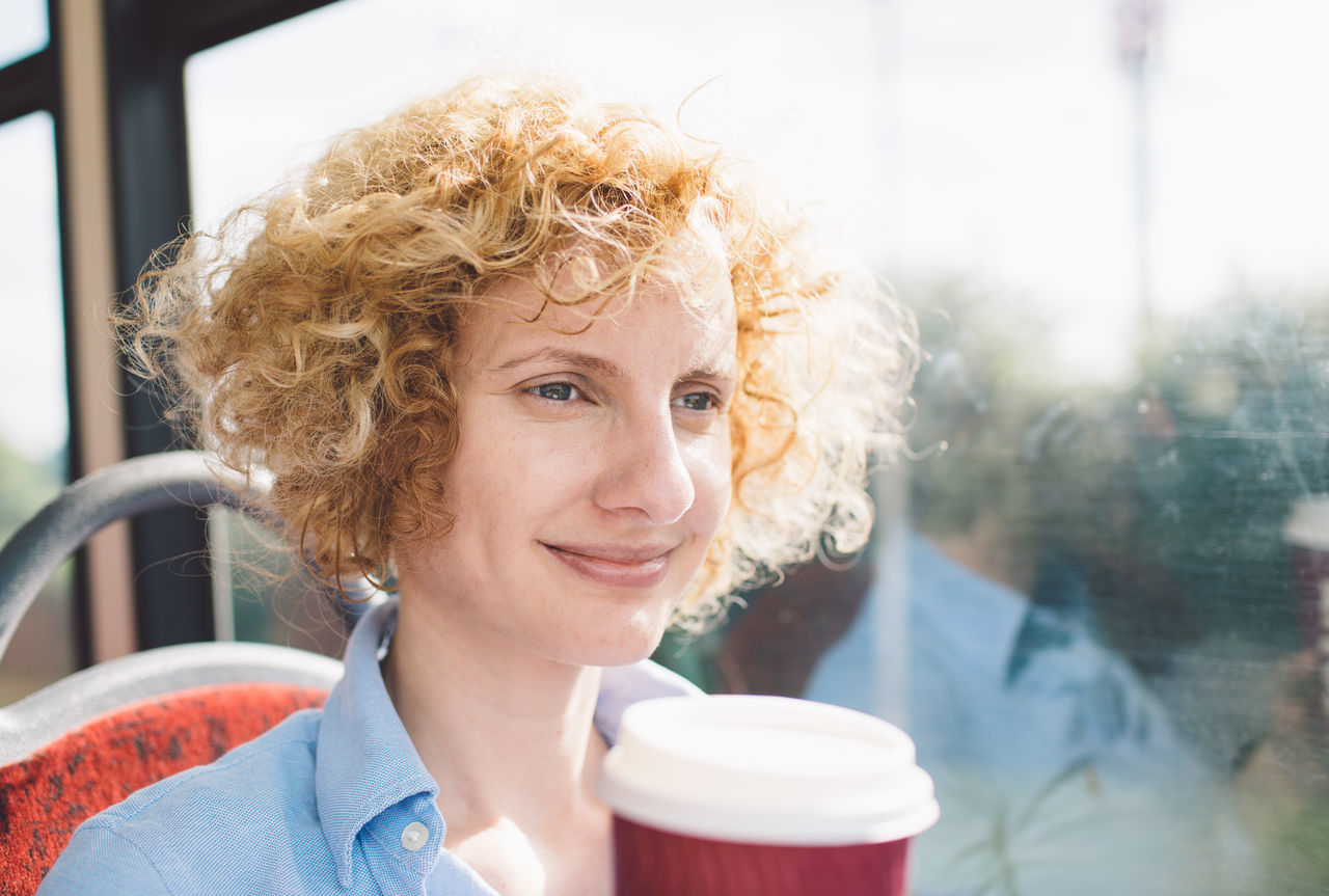 Bus Cofee Curly Hair Drinking Girl London Bus Smiling Transportation Travel
