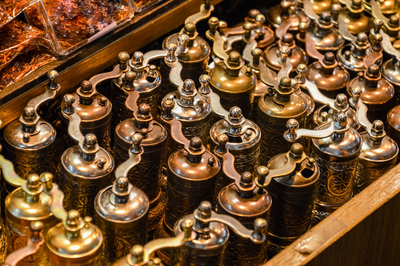 Some spices grinders in Grand Bazaar, Istanbul Abundance Close-up Gold Gold Colored Grand Bazaar Indoors  Large Group Of Objects Luxury Market No People Precious Gem Spice Grinder Spices Travel Wealth