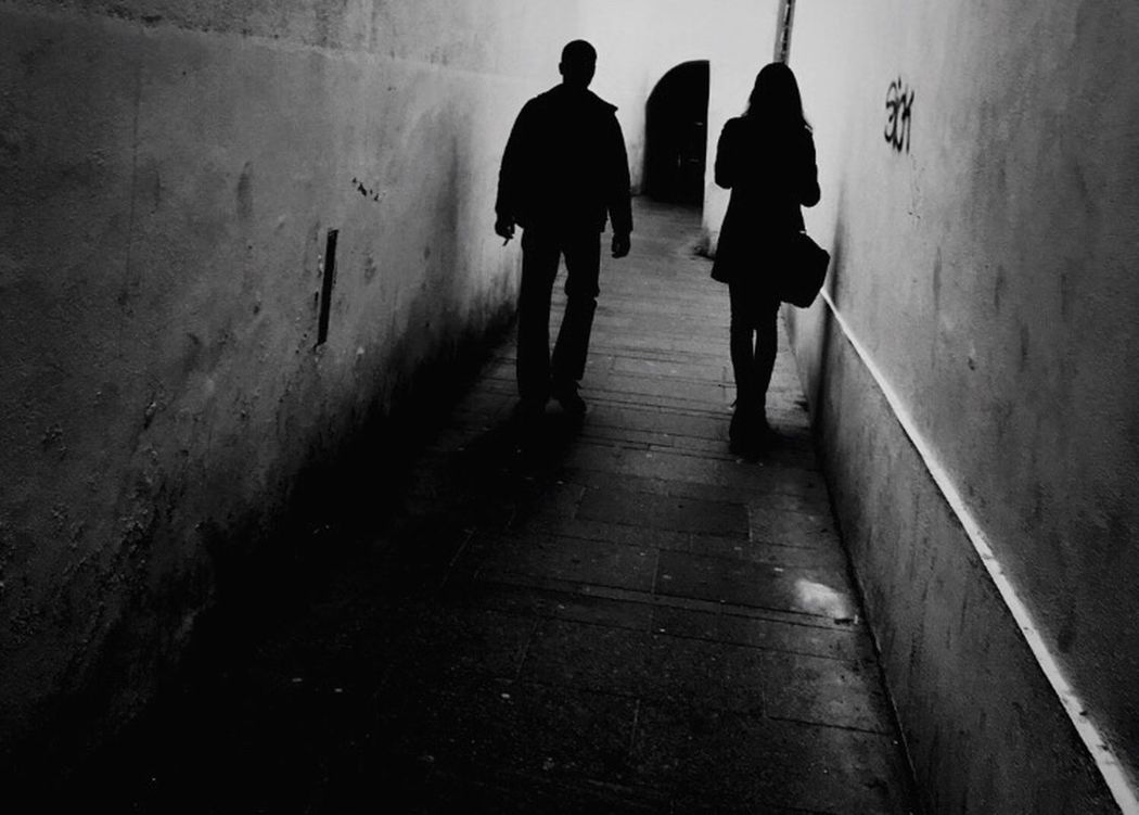 Unknown Together Separate Whoknows Photography Couple Tunel Life Shadow Blackandwhite Traveling Discover