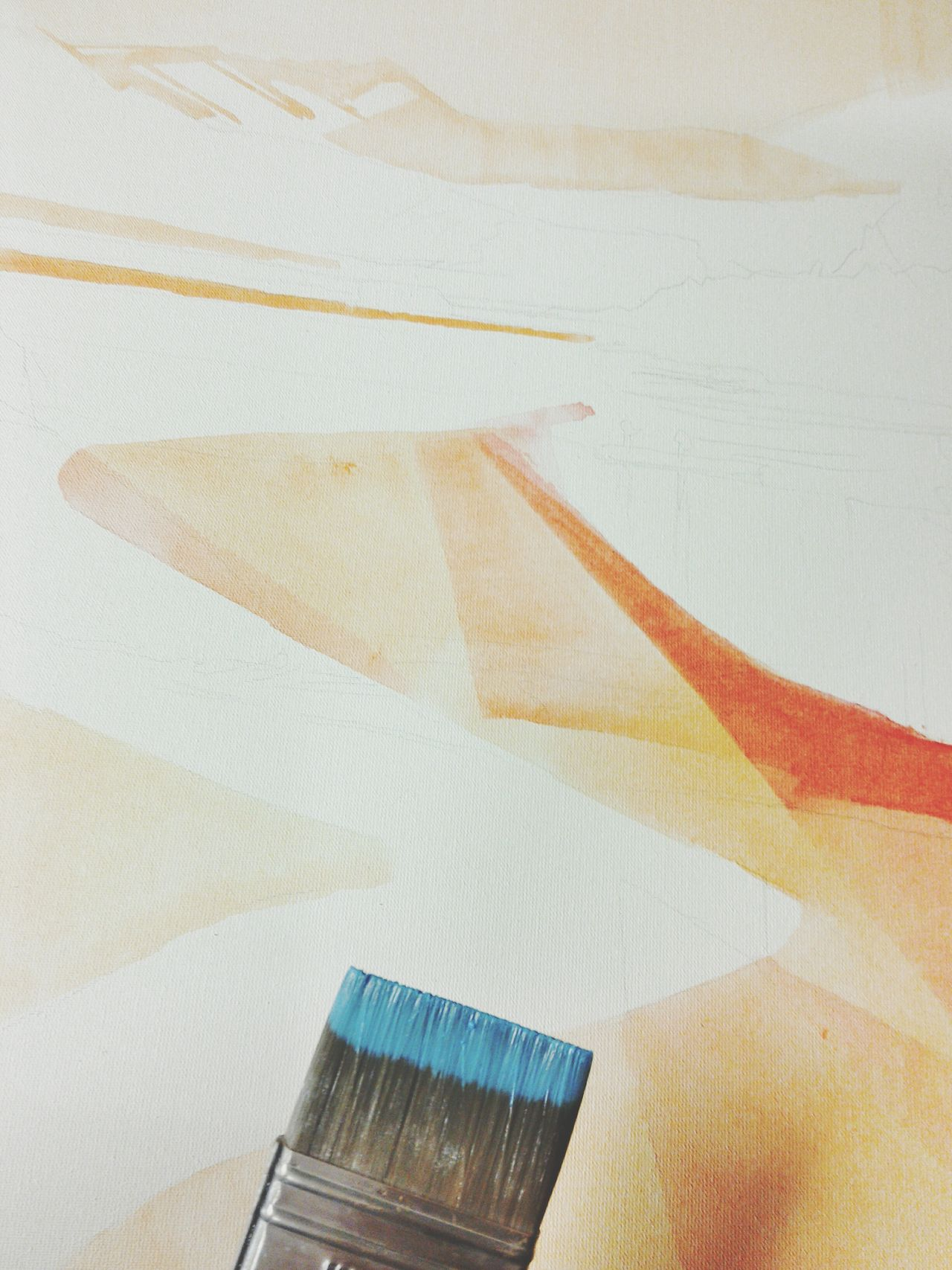 Painting In Progress White Background Canvas Fresh Paint Orange Color Painting Tools Paint Brush Painting Detail Indoors  Indoors  Close-up Blue Color Acrylic Painting Abstract Complementary Colors Creativity ArtWork