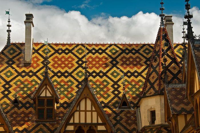 Hospice de Beaune, Burgundy, France Architecture Medieval Medieval Architecture Roof Tiles Decorative Ceramic Colorful Vivid Spire  Pattern Landmark Beaune Burgundy Bourgogne France Historical Building Historic Historical Monuments
