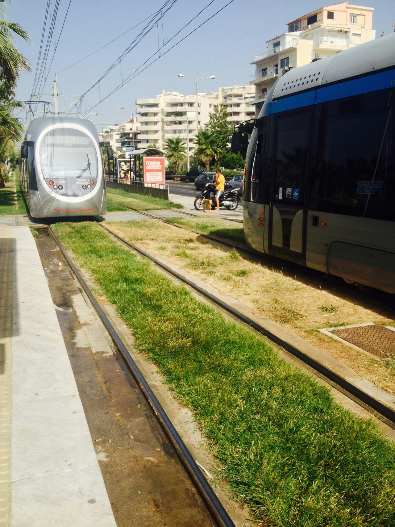 Tram Lines Grass City Limits Athens Greece