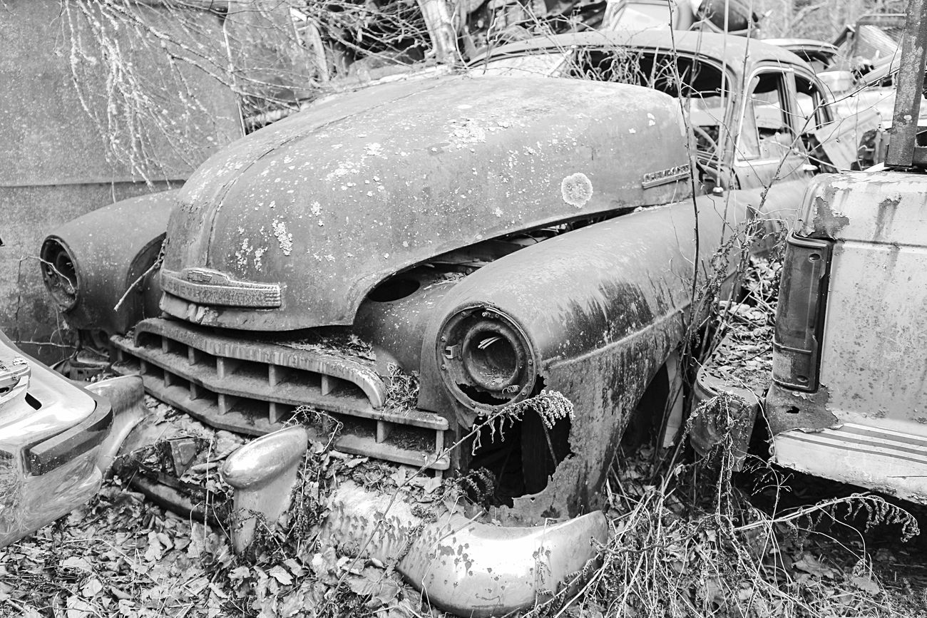 "Sadly mismatched. ""Lost Metal Souls"" part6 Lost Metal Souls Eye4photography  EyeEm Best Shots - Black + White Ladyphotographerofthemonth Vintage Cars Monochrome Bnw_junkie Old Car Junkie Black And White Getting Inspired"