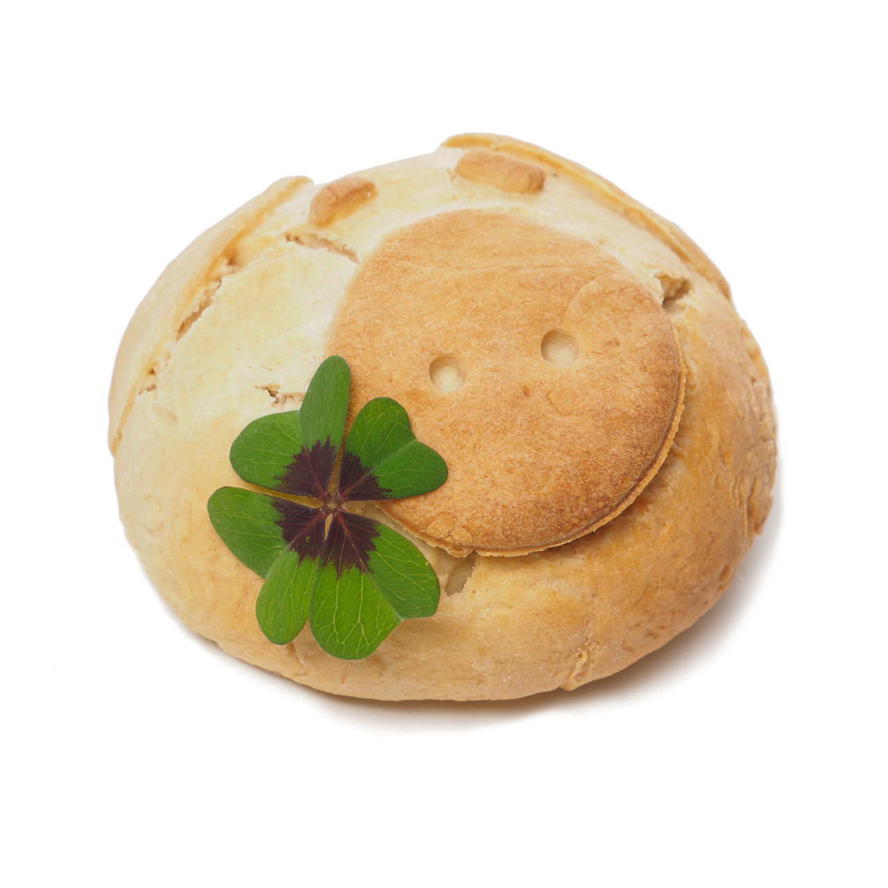Pig roll with clover Brown Close-up Clover Cut Out Day Food Food And Drink Freshness Good Luck Indoors  Leaf Lucky No People Pink Color Ready-to-eat Roll Studio Shot Sweet Food Symbol Symbolism White Background