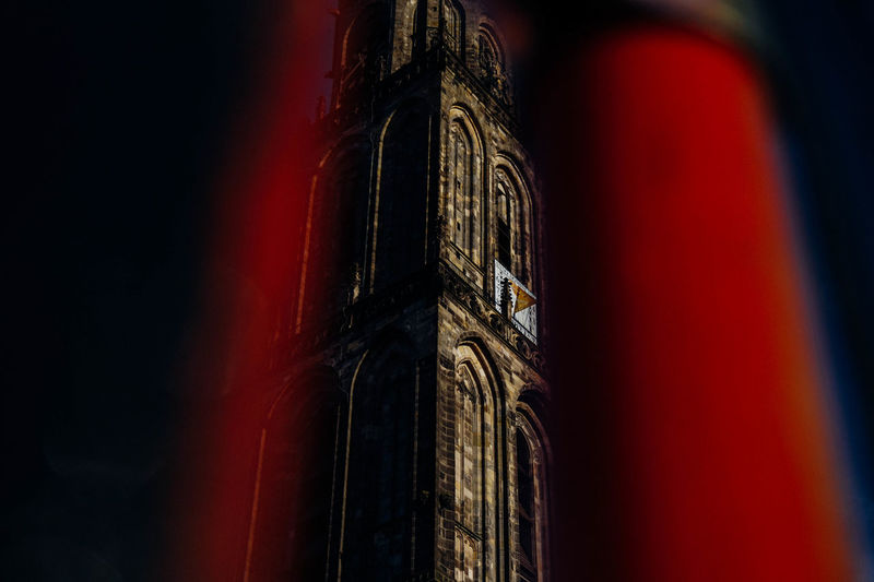 Martni Tower Chiaroscuro Angle Architecture Focus Groningen Low Angle View Martini Tower Tower All The Neon Lights