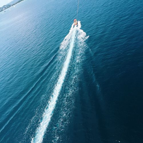 Wake - Water Nautical Vessel High Angle View Sea Speed Motion Wake Day Nature Transportation Water Outdoors Beauty In Nature Adventure Jet Boat One Person Wave Sailing People Live For The Story
