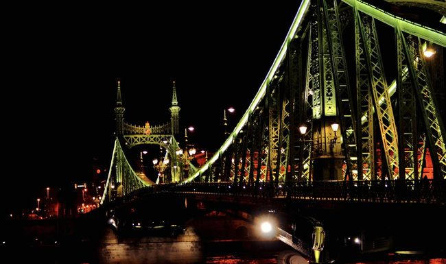 Architecture Arts Culture And Entertainment Bridge Bridge - Man Made Structure Budapest Built Structure Capital Cities  City Connection Engineering Europe Exposure Famous Place Freedom Bridge Hungary Illuminated International Landmark Long Exposure Outdoors River Speed Suspension Bridge Transportation
