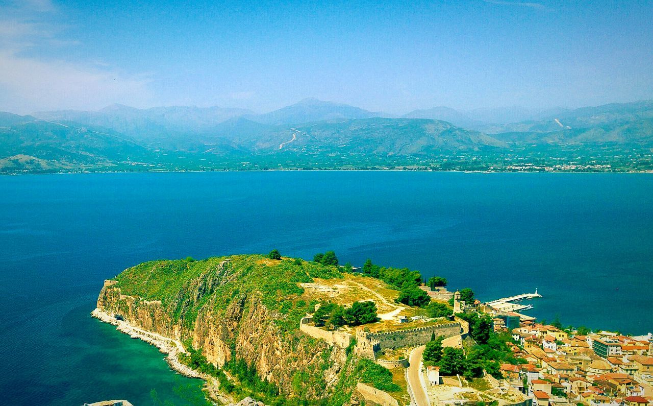 Rock Cliff Sea City Nafplio Peloponese Greece Rock Formation Castle View From The Top Viewpoint View From Castle Rock And Sea Mountains Mountains And Sea Historic City Steep Cliff Amazing View View Shades Of Blue Blue Wave Blue Sea Seascape Seaside Seaside City