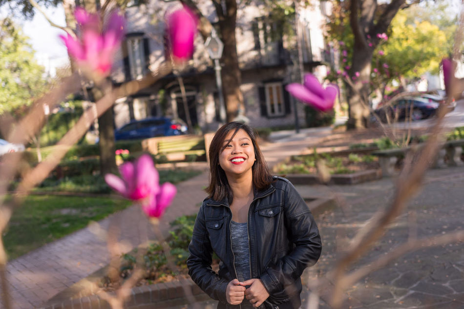 A genuine thoughtful smile. Beauty Branches City Flowers Genuine Historic Life Millennial Pink Pink Southern Square Thoughtful Town Victorian Young Women Young Adult Women City Life Lifestyles Casual Clothing Fun Smiling Playful Leather Asian  EyeEmNewHere