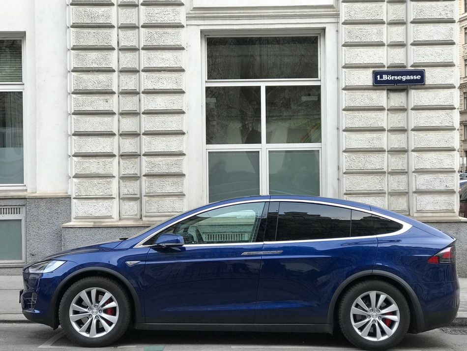 Tesla Model X parked in Vienna Car Transportation Land Vehicle Mode Of Transport Parking No People Tesla Tesla Motors Tesla Model X Electric Car Electric Vehicle