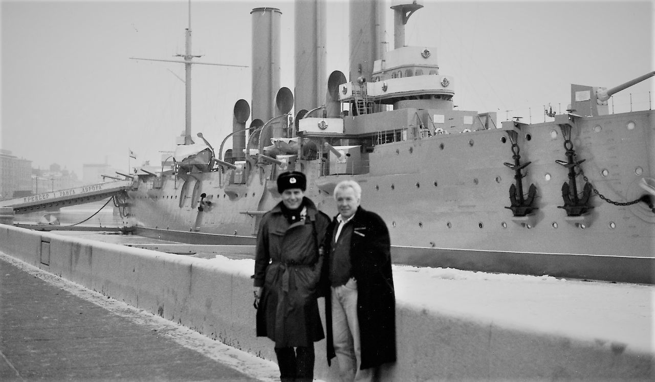 1991 Adult Battleship Potempkin Blackandwhite Boat Clear Sky Day Janury 1991 Leningrad Looking At Camera Me Outdoors Portrait Real People Sky Standing Two People Ussr