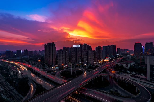 Puyuan Overpass Architecture Battle Of The Cities Changsha Changsha,China City City Cityscape Cityscapes Cloud Illuminated Long Exposure My Favorite Place Overpass Road Sky Skyline Speed Sunset Urban Skyline