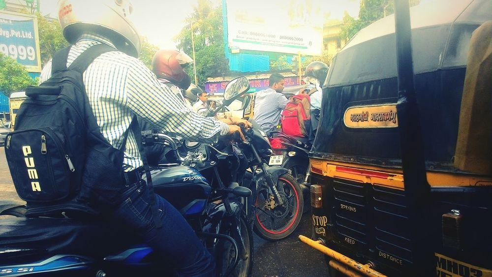 Learn & Shoot: Layering Traffic Jam Bikers Mumbai_in_clicks Morning Traffic