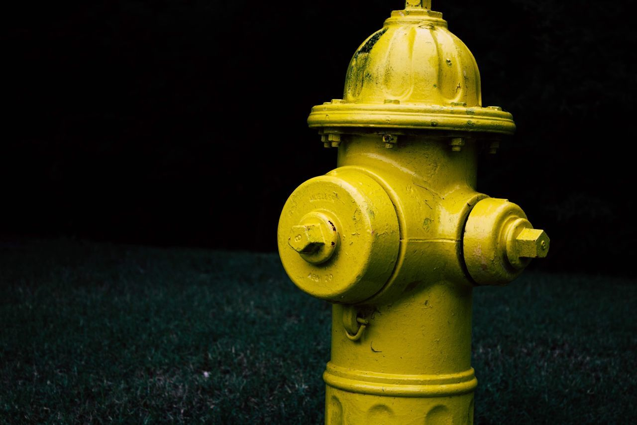 Yellow Urban Yellow Fire Hydrant Low Angle View Hydrant No People Close-up Night Outdoors Urban City