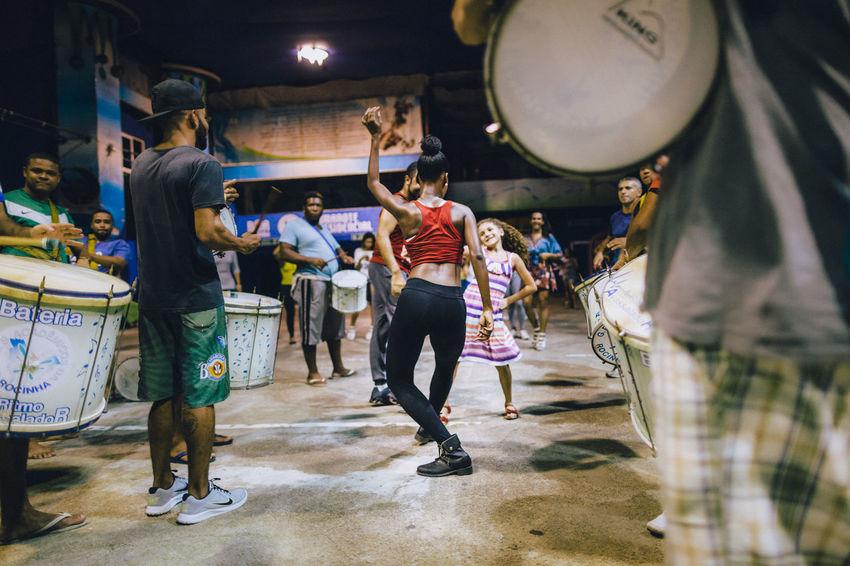 Samba rehearsal in the Rocinha Favela, Rio de Janeiro - Brazil Brazil Carnival Dancing Rio De Janeiro Rocinha Samba Day Drums Favela Favelas Indoors  Large Group Of People Leisure Activity Lifestyles Men Occupation People Real People Rehearsal Rehearsing Rocinha Slum Skill  Women