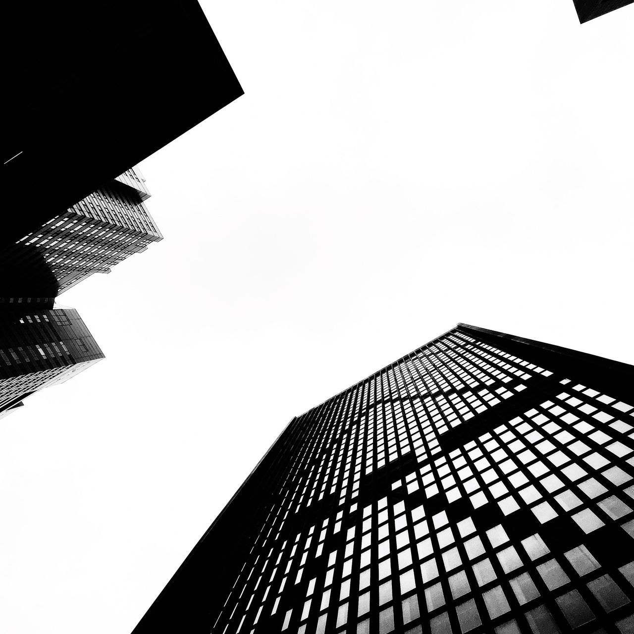 Monochrome Photography Architecture Low Angle View Tower Skyscraper Modern Office Building Building Exterior City Urban Geometry