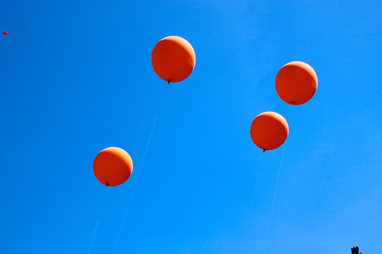 Beautiful stock photos of balloon, Balloon, Blue, Celebration, Clear Sky