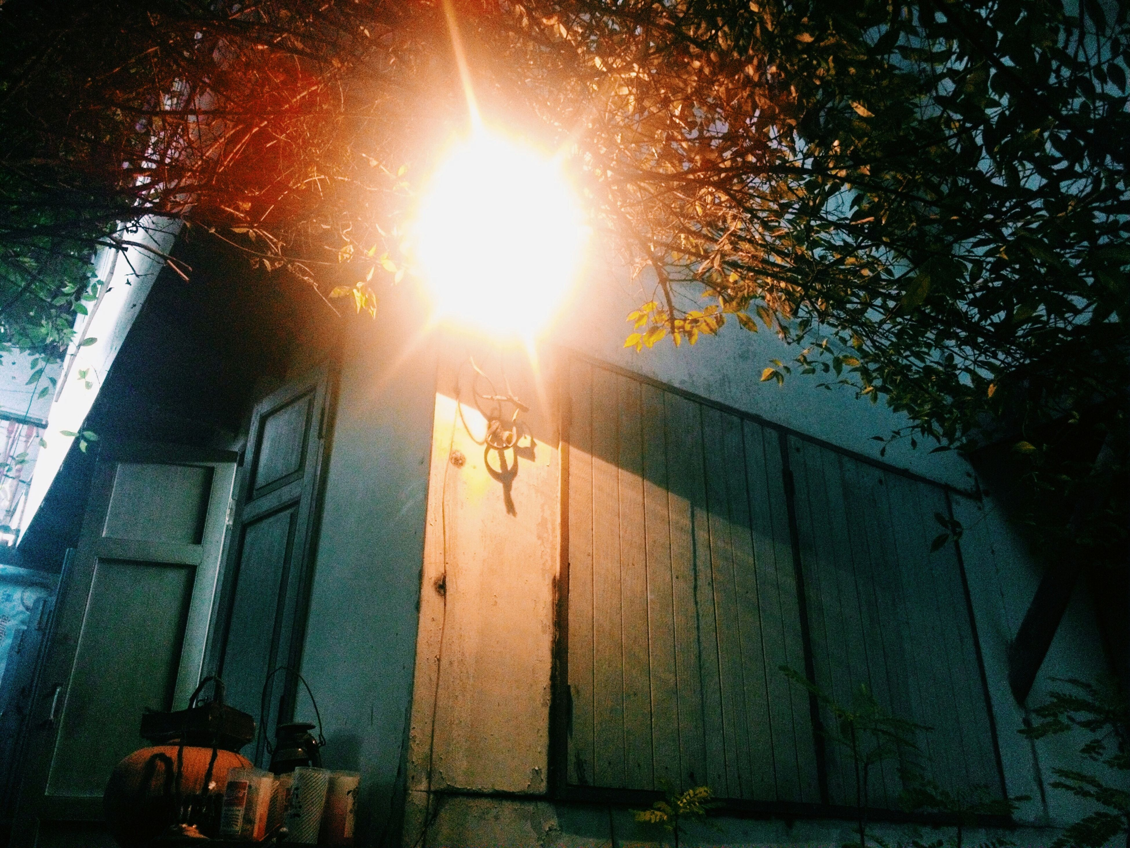 built structure, architecture, building exterior, night, sunlight, illuminated, low angle view, tree, outdoors, wood - material, house, no people, sun, street light, lens flare, sunbeam, building, wall - building feature, lighting equipment