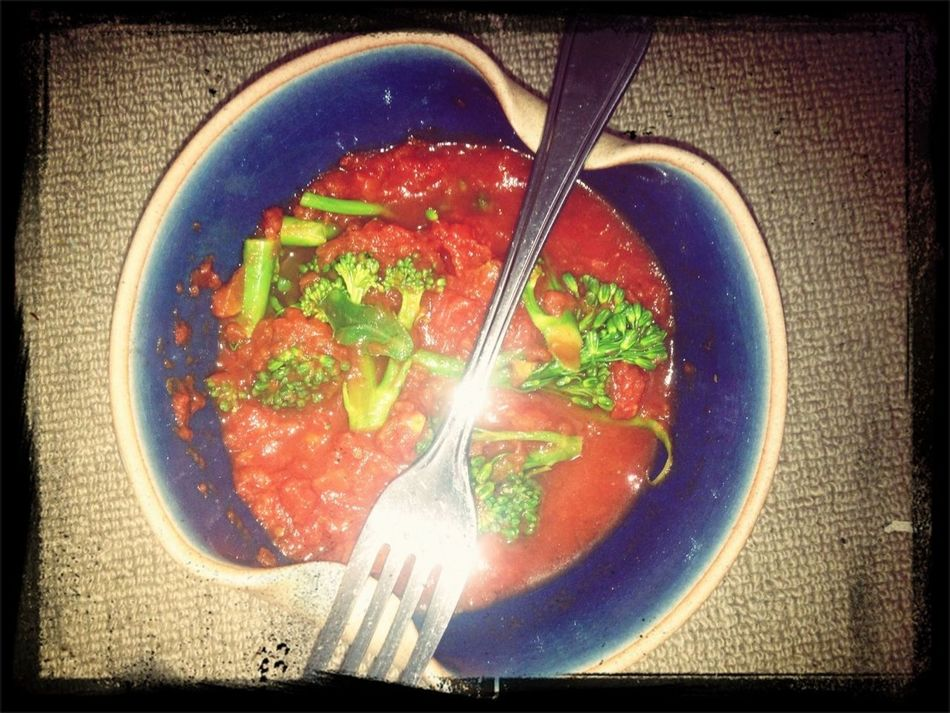 Lunch - Steamed broccolini, diced tomatoes & herbs