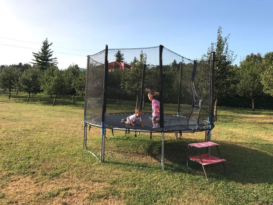 Leisure Activity Full Length Casual Clothing Lifestyles Childhood Two People Real People Sitting Day Tree Outdoors Grass Enjoyment Sky Togetherness Elementary Age Boys Nature Swing Playing